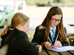 New Year 7 intake at Grove School in Market Drayton includes 11-year-olds Sophia Barber and Haylie Chapman