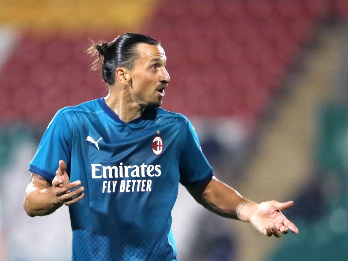 Zlatan Ibrahimovic holds out his arms