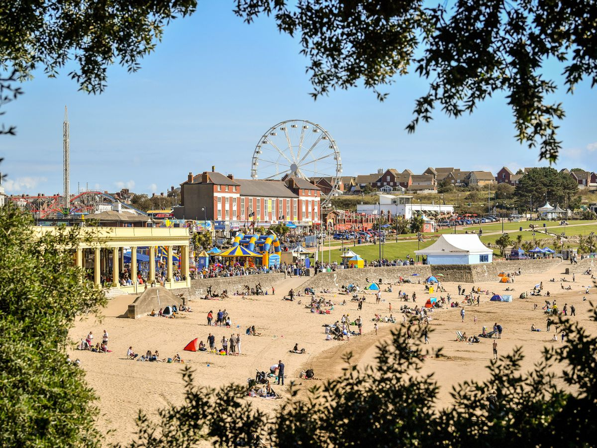 People on the beach at Barry Island in August 2020