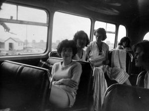 nostalgia pic. Barmouth. Picture loaned by Mr Len Haynes, of 5 Trench Close, Trench, 411339, on a bus at Barmouth in 1961 or 1962. He was on holiday there and wants to get in touch with the girl on the left, who told him she was a cousin, but whom he has never seen again. (N.B. the background, not for publication, is that he was at the Vineyard children's home in Wellington and is now trying to trace his family roots. He has no idea why the girl in the picture said she was related and is trying to find out). Mr Haynes is now 65 and says he would be 16 or 17 at the time of the picture, which he took. He ways the building visible through the window on the left was the cookhouse of the camp site, where they stayed in tents. Library code: Barmouth nostalgia 2010.