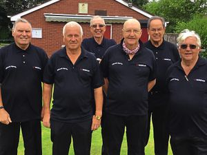 So close: Allscott Heath A were proud finalists in the Mid Shropshire Senior Citizens League's Charity Shield. Allscott's final line-up, from left, are pictured: Lew Tipton, Pete Starling, Venn Davies, George Groucott, Tony Hayward and Chris Yates (captain)