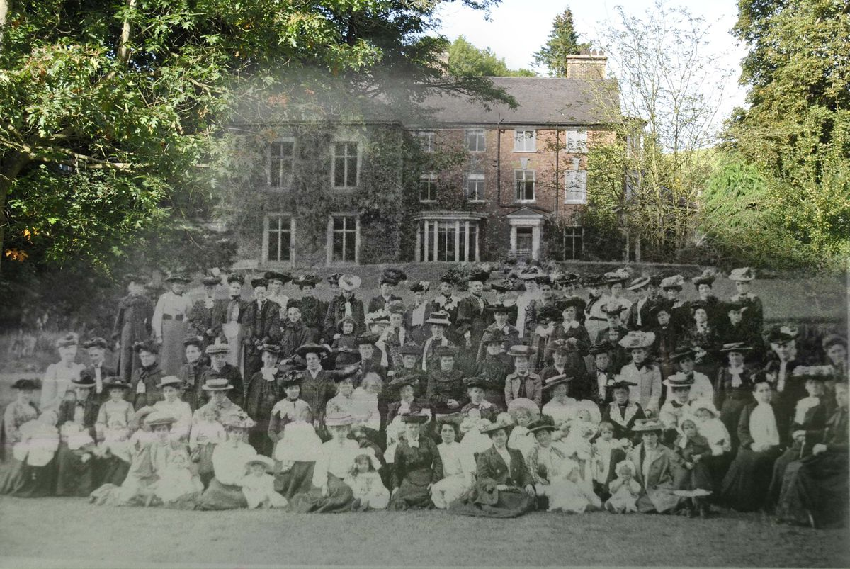People gather outside what is now the Valley Hotel.