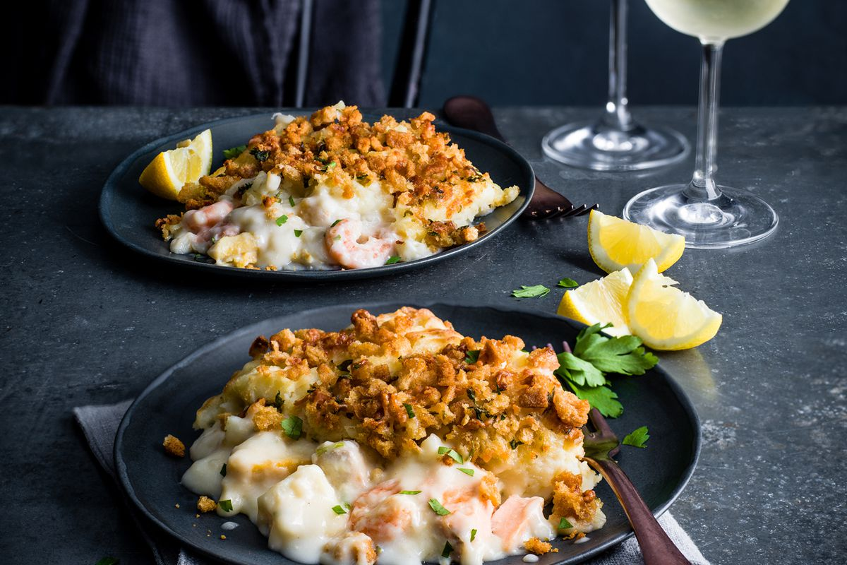 Gastropub Fish Pie £8 serves 2. Made with responsibly sourced cod, smoked haddock, salmon and king prawns, coated in a rich cheesy sauce