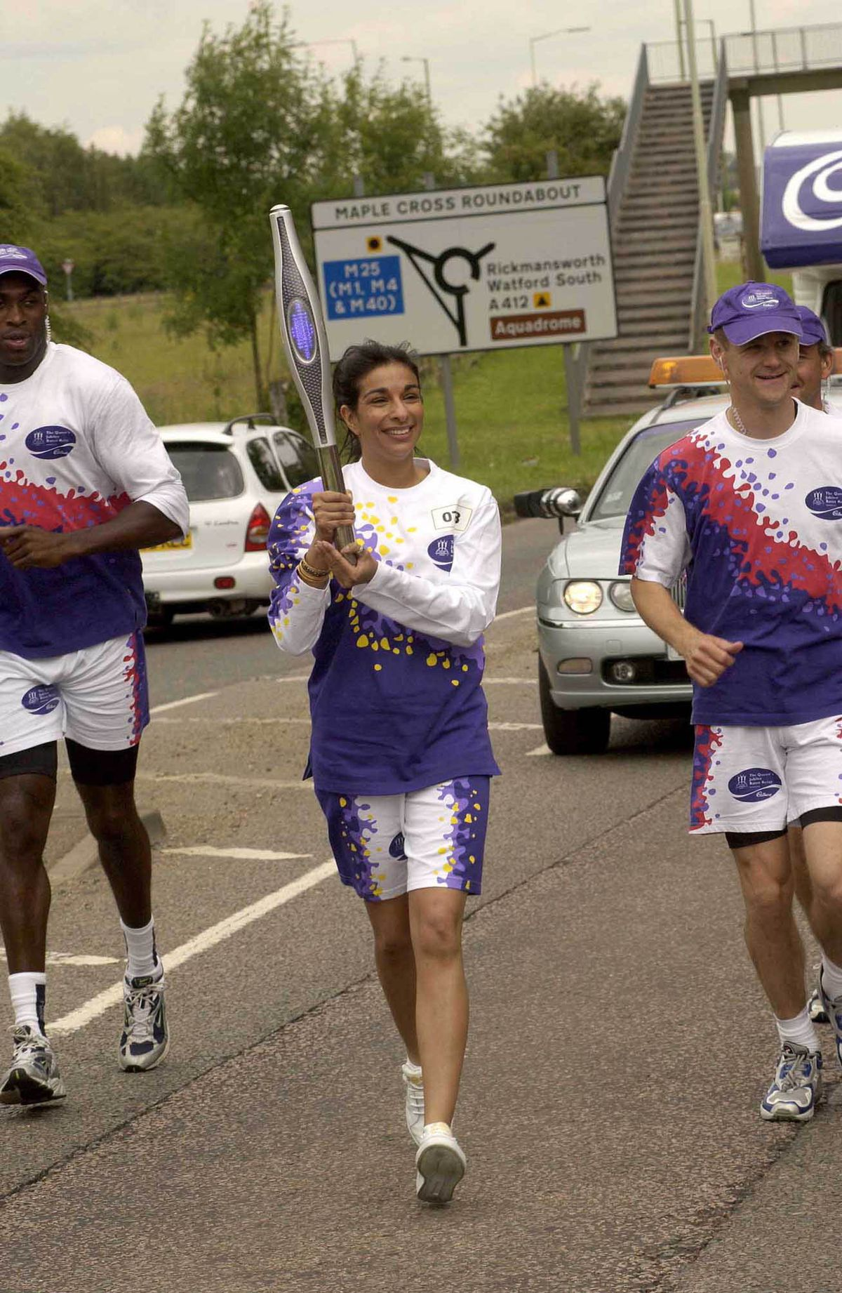 Shobna took part in The Queen's Jubilee Baton Relay for the 2002 Commonweath Games in Manchester