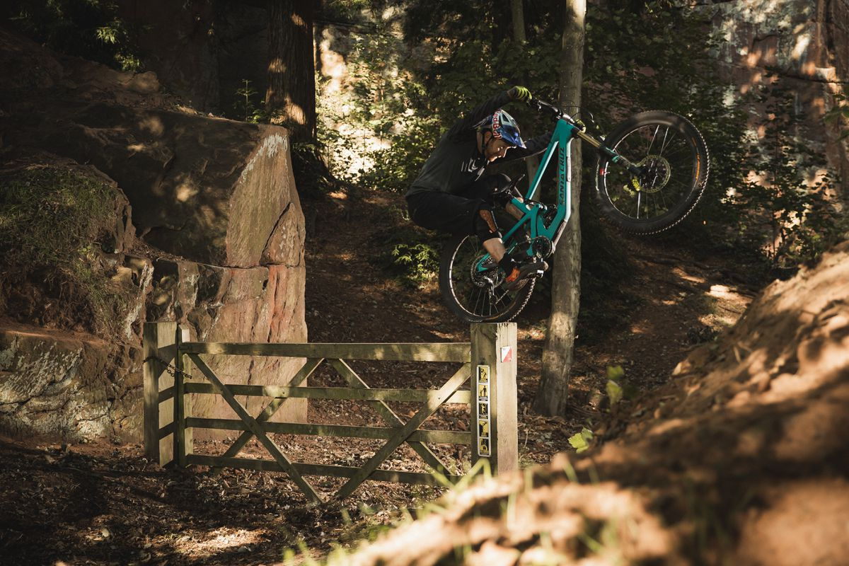 Stunt riders Danny MacAskill and Kriss Kyle film This and That at Nescliffe in Shropshire. Photo: Dave Mackison