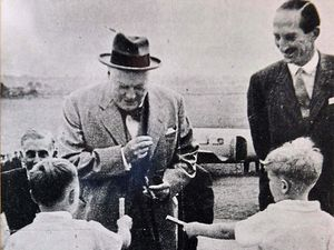 The two boys with Churchill. Richard Hill is on the left and Bill Povey is on the right