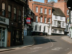 SHREWS COPYRIGHT SHROPSHIRE STAR JAMIE RICKETTS 24/03/2020 - First day of the partial lockdown of the UK due to the Coronavirus Pandemic. In Picture: Shrewsbury, 9am, where it is usually busy with people going to work -  Wyle Cop.
