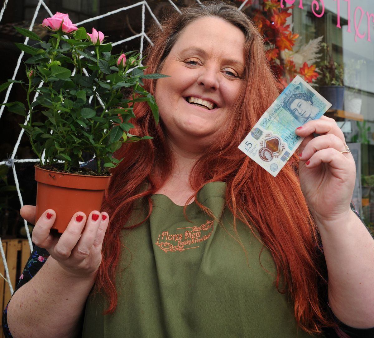 Vivienne Derricutt of Flores Diem is among those in Market Drayton taking part in the Fiver Fest