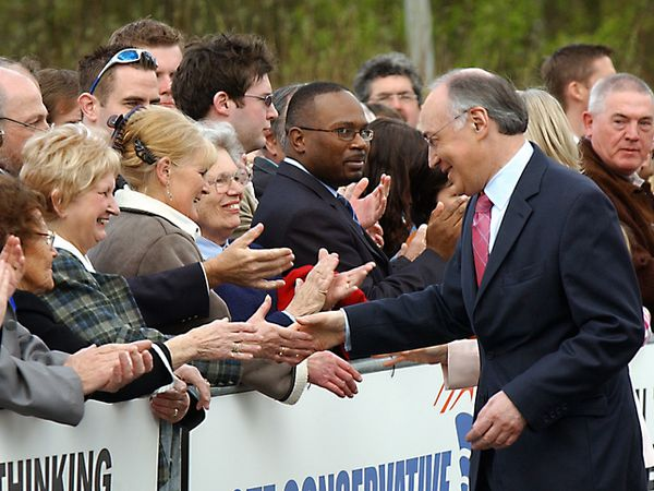 Michael Howard meets voters outside Telford International Centre in April 2005