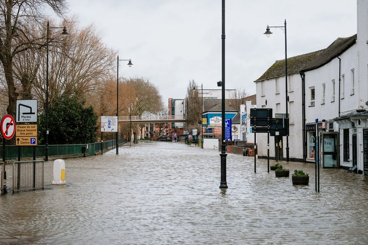 The floods closed roads across the county, including Shrewsbury which was badly hit.