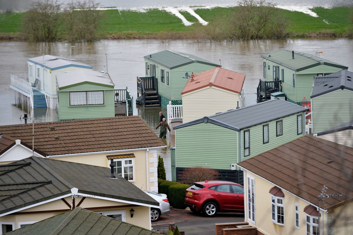 Flooding in the Severn Valley Caravan Park in Quatford, Bridgnorth