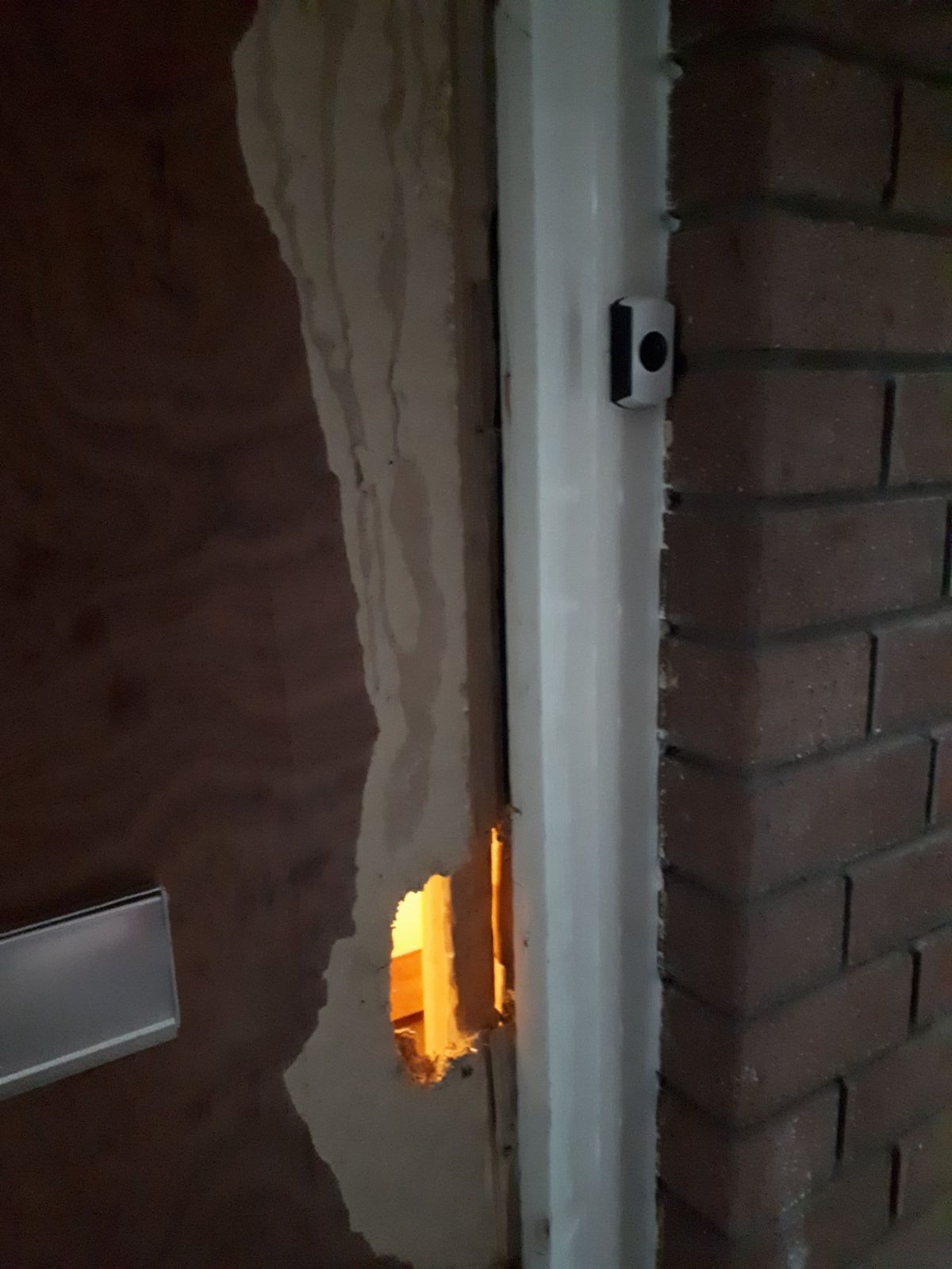 A door broken during one of the searches