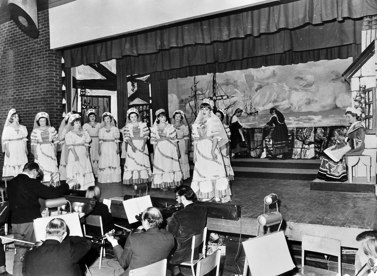 A dress rehearsal of Gilbert and Sullivan's 'Ruddigore' by Oswestry Amateur Operatic Society in Oswestry Boys' Modern School hall is pictured here on January 2, 1967. We think the woman seated on the right is Miss Megan Jones (that's her real name, not her character).