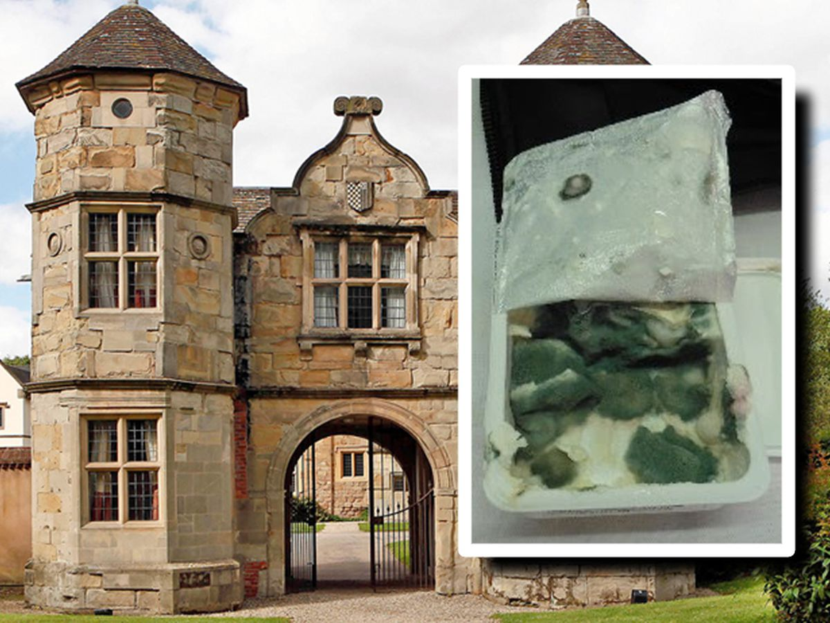 Mouldy food, inset, was found at the Mercure Telford Madeley Court hotel
