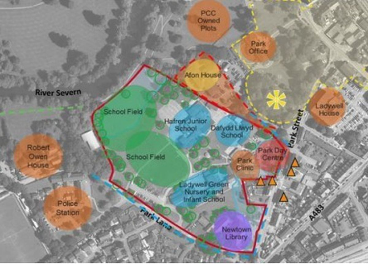A map of the current site