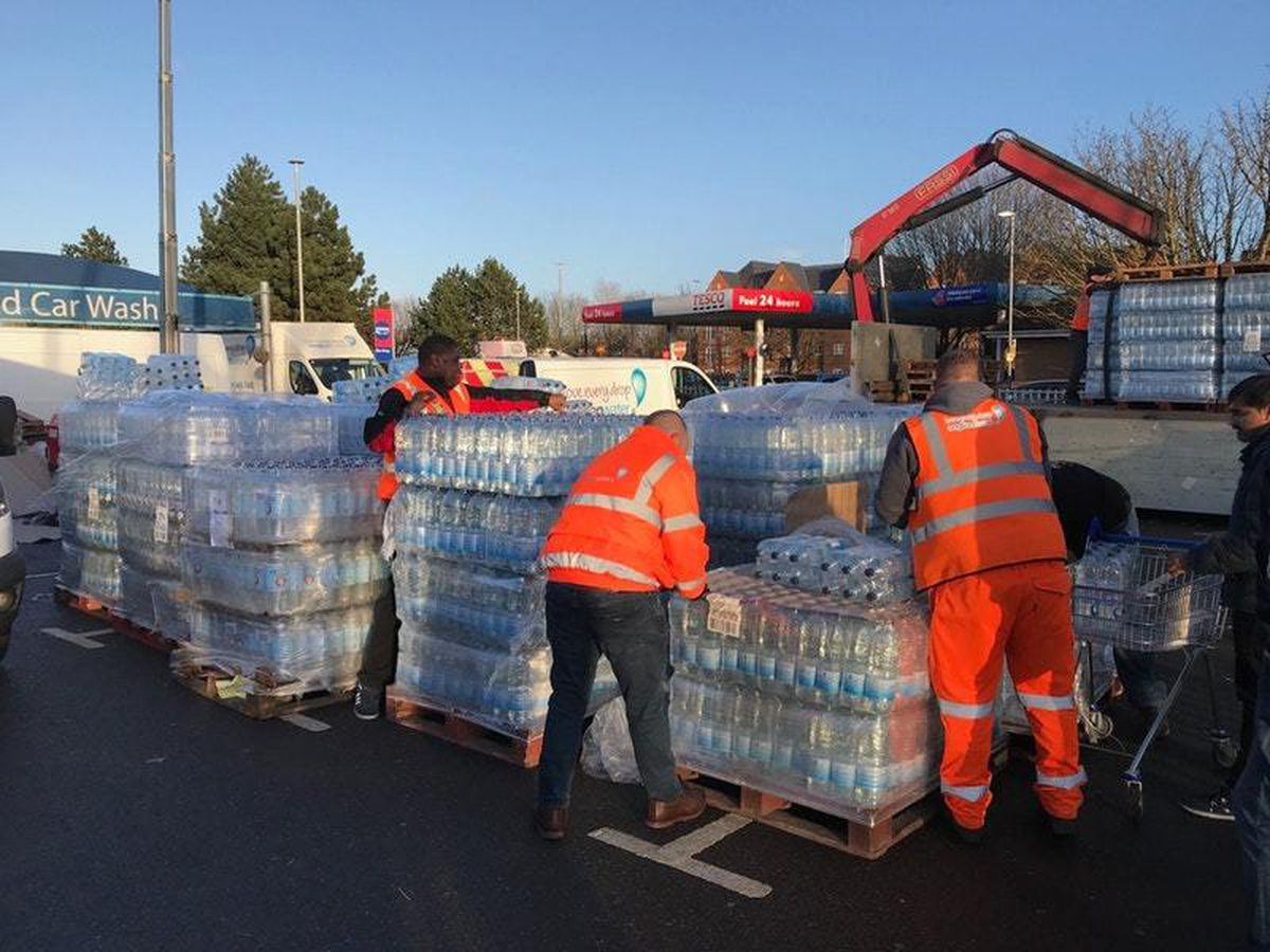 Water bottles being handed out by Anglian Water