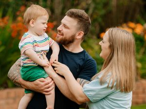 Parker Brownfield, who is 18 months old, with mother and father Becky and Ryan