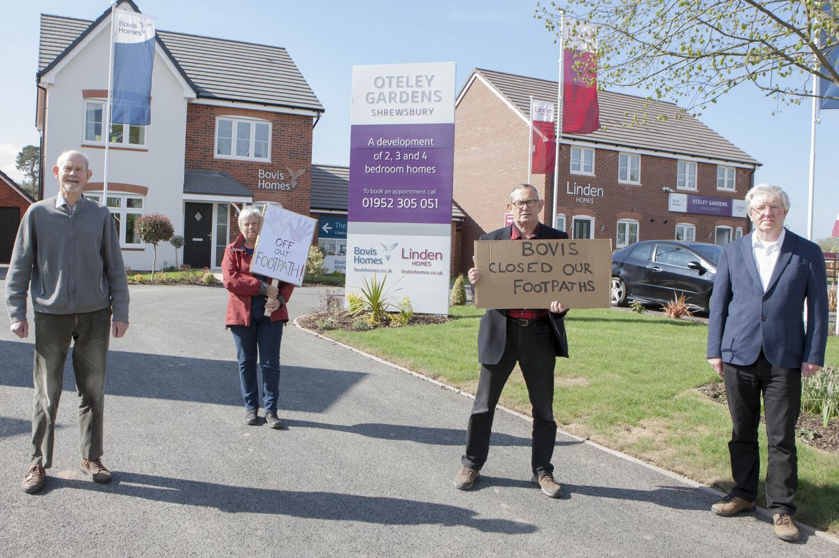 Protesting at the Oteley Gardens development are (left to right): Chairman of Shrewsbury Labout South Branch Keith Robinson, Labour candidate for Column ward Rosemary Dartnall, Shropshire councillor Tony Parsons and Shrewsbury town councillor Phil Gillam