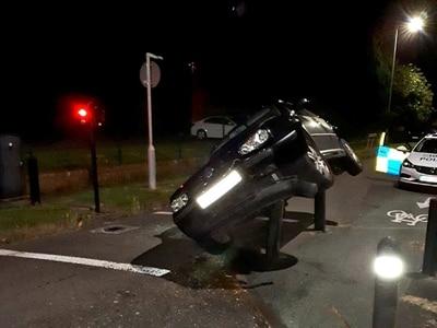 Police arrest drink-drive suspect after car mounts bollards in Newport
