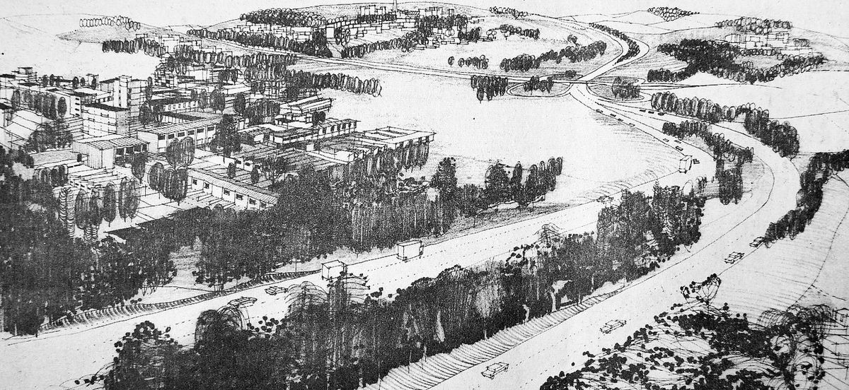 A 1965 artist's impression of Dawley New Town town centre, which was planned to be built around Randlay Lake, but never happened.