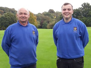Dani Hoof, right, who has been apprenticing under the watchful eyes of head greenkeeper Simon Cotterill