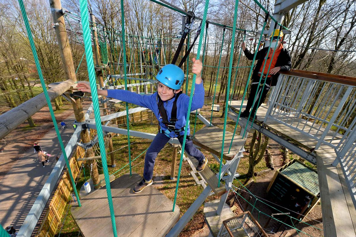 Ashton Cobb, 9, from Newport, watched by instructor Jayden Jones, on Sky Reach, the high ropes course at Telford Town Park