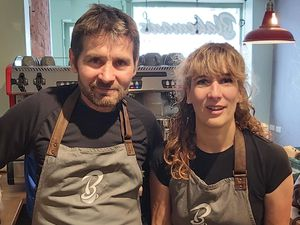 Neil and Jo Blakeman, at new cafe and gallery Blakeman's in Church Stretton