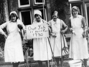 """Our job is over for 1930"" reads the notice held up by these young ladies who were in domestic service at some grand Shropshire house – although we don't know exactly where. The photo was loaned to us some years ago by Mrs Vicky Jones of Wellington and came from her family photo archive. ""I think they are friends of my husband's mother Elsie Jones, nee Holding, late of Criftins, Ellesmere, who was a cook at some of the great houses in Shropshire,"" she told us."