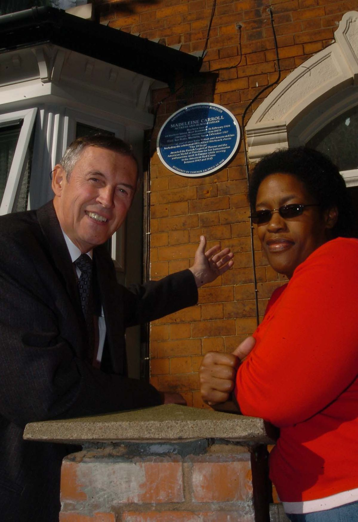 Historian Terry Price arranged for a blue plaque to be installed at Madeleine's birthplace in Herbert Street, West Bromwich in 2006. He was pictured with Mary McGlashen who was living at the house in the time.