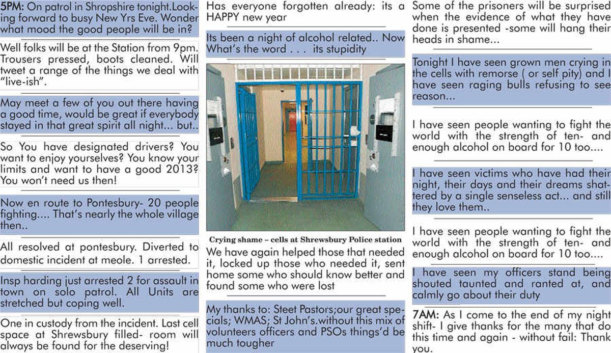 Grown men crying in the cells - Shropshire officer's New Year's Eve as it happened