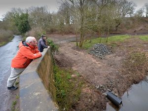 Councillor Roy Aldcroft, front, and resident Roy Claydon, survey the damage off Berrisford Road