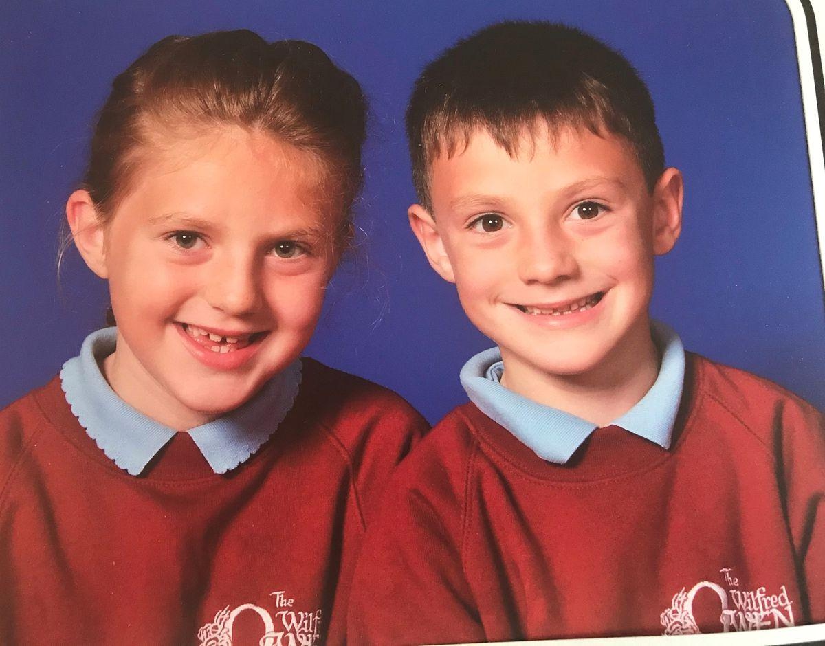 Amy Jones' children Ellie Jones, nine, and Tyler Jones, seven, from Shrewsbury