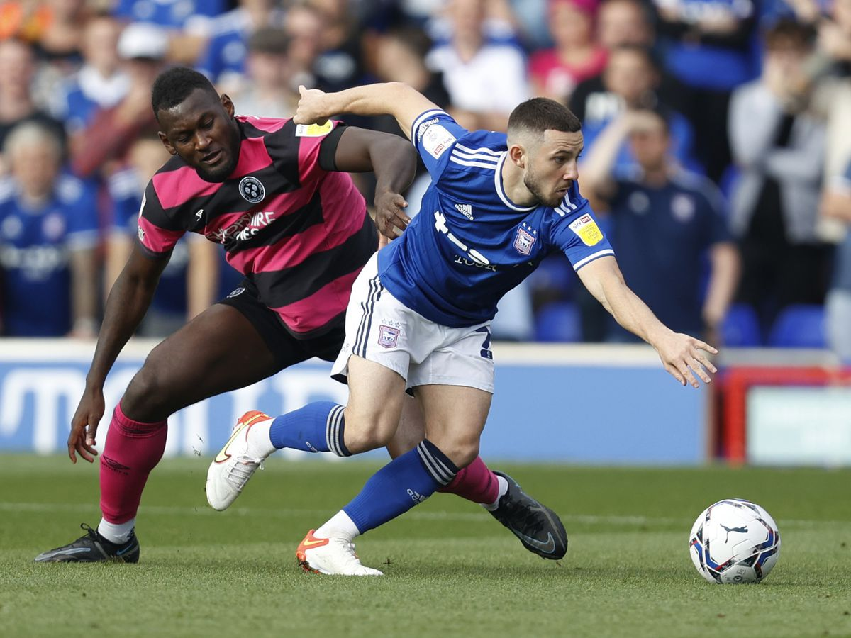 Conor Chaplin of Ipswich Town and Aaron Pierre of Shrewsbury Town. (AMA)