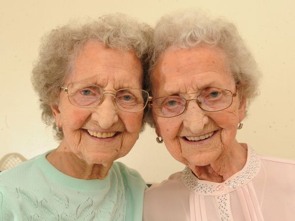 Twins (left) Lilian Cox and (right) Doris Hobday
