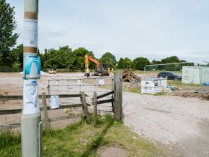 NORTH COPYRIGHT SHROPSHIRE STAR JAMIE RICKETTS 14/06/2021 - The ground has been broken to begin the work to create a McDonalds in Market Drayton. The field is just off the Muller roundabout on the A53/Shrewsbury Road..