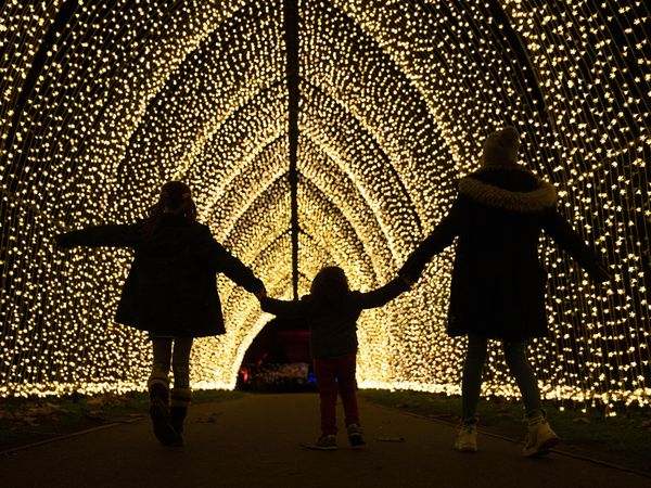 Lulu Kingstone, nine, Alfred Alejandro Dudely-Mira, three, and Elena Kingstone, 11, walk through the Cathedral of Light, a pealight-lit tunnel of lights, during a preview for Christmas at Kew at the Royal Botanic Gardens in Kew, London