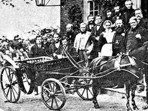 Railway workers present Sister Dora with a pony and carriage in June 1873.