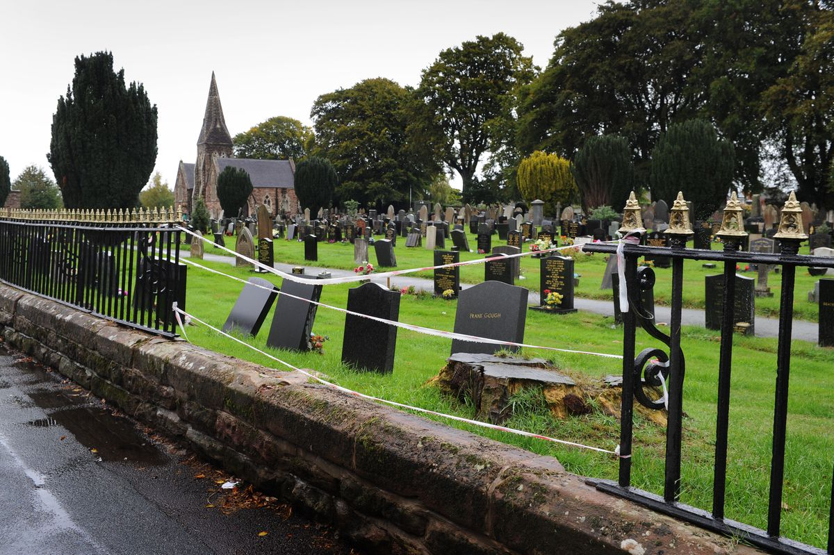 The damaged section of fence at Market Drayton Cemetery