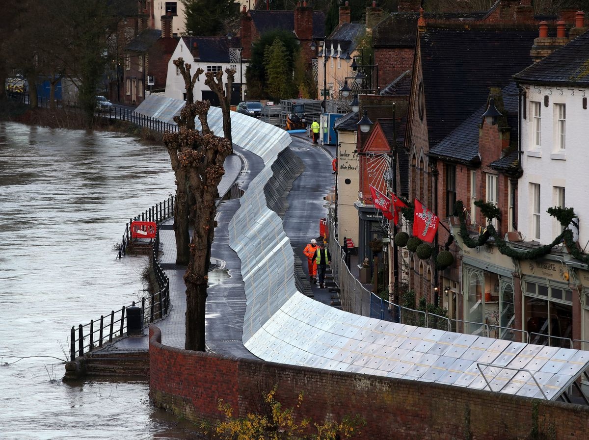 Flood barriers next to the River Severn in Ironbridge on Christmas Eve
