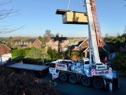 Dropping in: First shop in 20 years craned into Shropshire village - with video and pictures