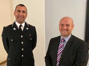 Incoming Dyfed-Powys Police Chief Constable  Dr Richard Lewis with Police & Crime Commissioner  Dafydd Llywelyn