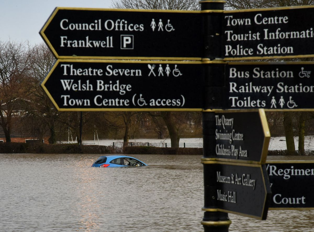 Shrewsbury flooding: The River Severn at Frankwell car park as of 8am this morning. Pic: Russell Davies