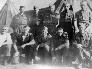 Private Tom Marsh, bottom right, serving as a teenager in the Home Guard