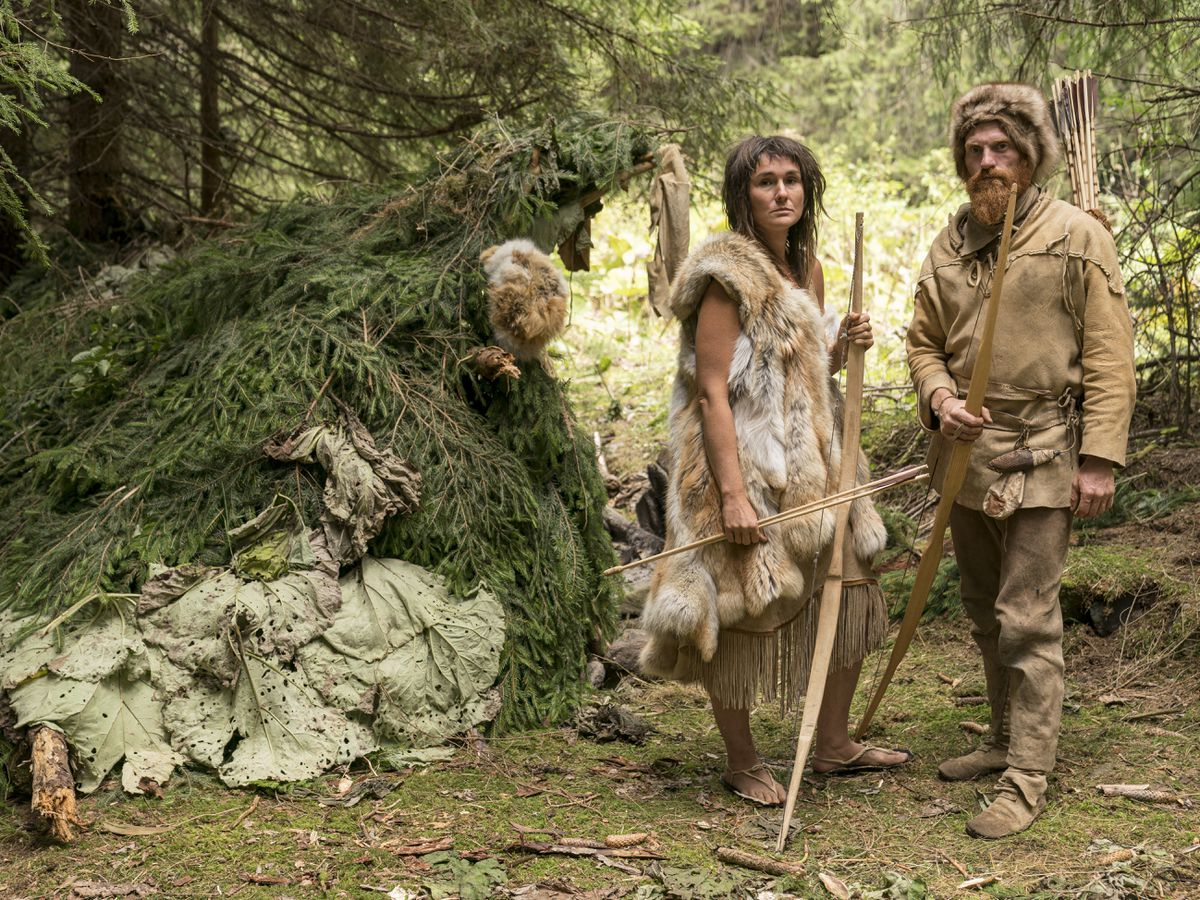 Naomi and Dan Walmsley took part in a TV Stone Age challenge. Picture: Colin Hutton
