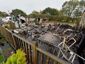 The fire destroyed the home in Market Drayton