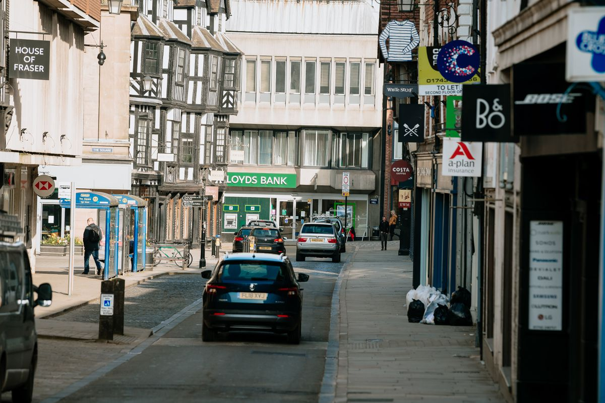 Cars will not be able to travel along High Street in Shrewsbury under the plan