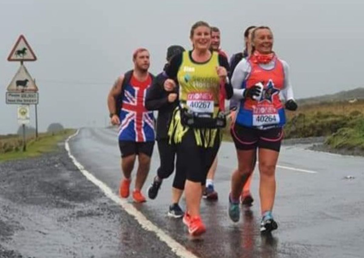 Sian Powell and Lisa Taylor Stokes recreated the London marathon in the Shropshire Hills