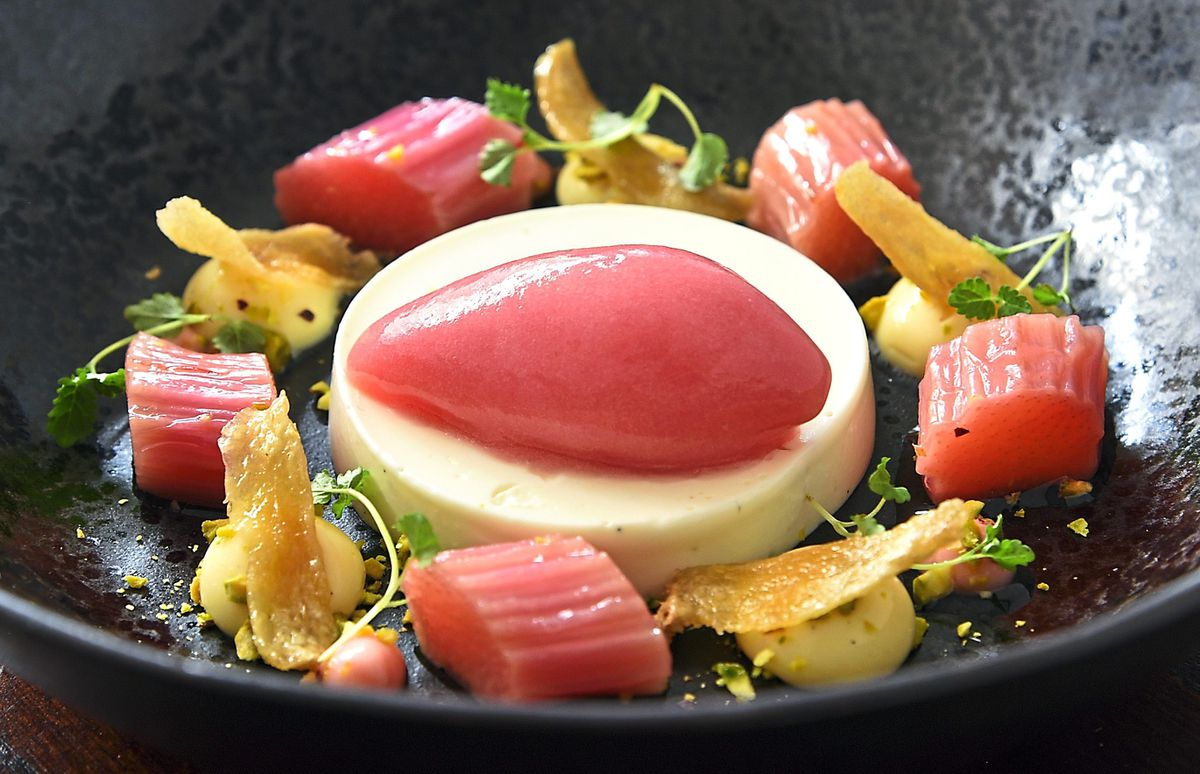 In the pink –  the yoghurt pannacotta with rhubarb sorbet and vanilla cream                                                                                                               Pictures by Russell Davies