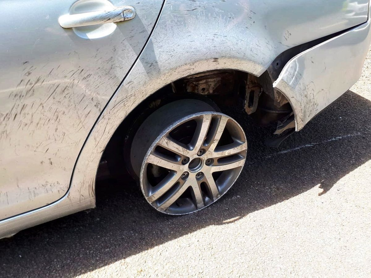 No tyre is left on this wheel. Picture: @TelfordCops