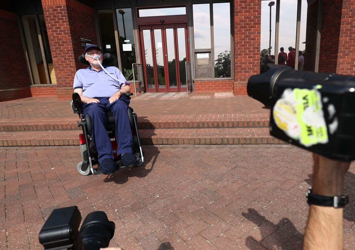 Terminally-ill Noel Conway, 67, arriving at Telford County Court to view a video link of a judicial review on assisted dying.